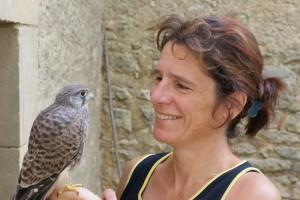 avec Punky, jeune faucon crécerelle. Juillet 2013